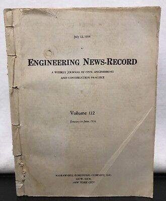 Journal Civil Engineering News Record Volume 112  January June 1934 Bound Paper