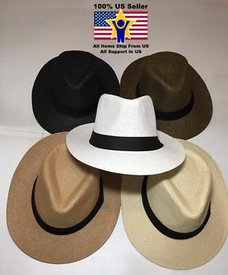 Women Men Brown Fedora Trilby Gangster Cap Summer Beach Sun Straw Panama Hat - Gangster Fedora Hats For Men
