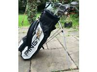 Ping golf bag with clubs