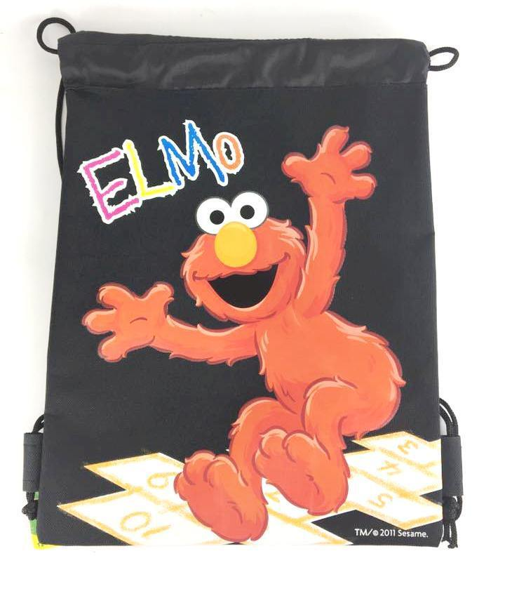 Sesame Street Elmo Drawstring Backpack School Sport Black Gym Bag