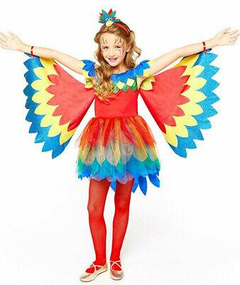★ Parrot Papageienkostüm Papagei Vogel Kostüm Kinder Mädchen Regenbogen 110-152