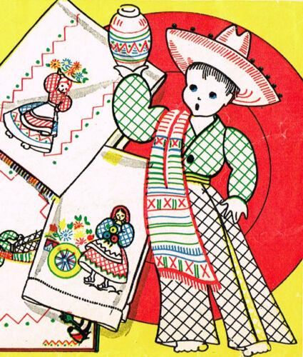 1950s Vintage Vogart Embroidery Transfer 106 Uncut Mexican Kitchen Motifs ORIG