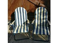 Pair of large reclining deck chairs