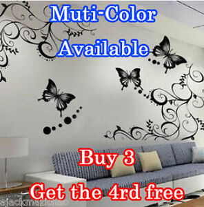 Butterfly-Feifei-Flower-Wall-Stickers-Decal-Removable-Art-Vinyl-Decor-Home-Au