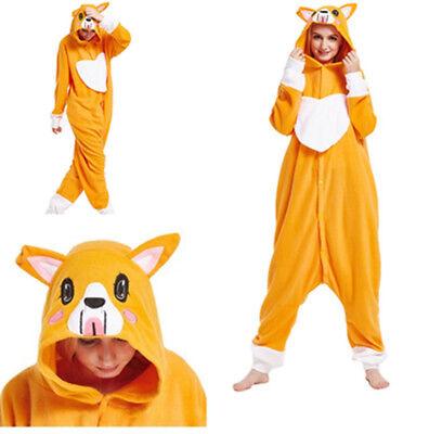 Welsh Corgi Dog Adult Fleece Sleepwear Pajamas Kigurumi Jumpsuit Cosplay Costume