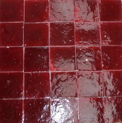 20 Terrakotta-Fliesen weinrot glasiert 10x10x2cm - Bodenfliesen Cotto Tonfliesen - Rot Bodenfliesen