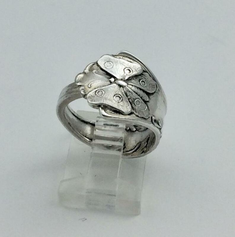 Vintage Silver Tone Butterfly & Flower Silver Tone Spoon Ring Size 7.5