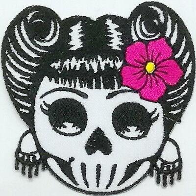 Zucker Schädel Mädchen (Rockabilly Aufnäher Zuckerschädel Totenkopf Mädchen Patch Schädel 7.5cm x 7.5cm )