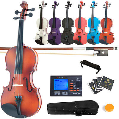 Mendini Violin Wood Black Blue Pink Purple White 4/4 3/4 1/2 1/4 1/8 1/10 +Tuner