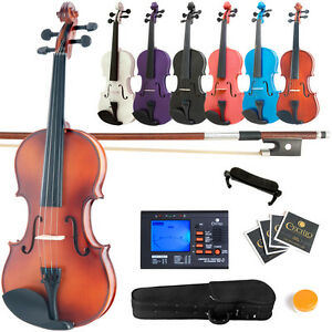 Mendini-Violin-Wood-Black-Blue-Pink-Purple-White-4-4-3-4-1-2-1-4-1-8-1-10-Tuner