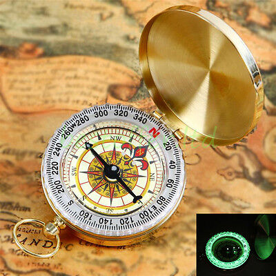 Traditional Design Brass Metal Pocket Watch Classic Compass Camping Luminous