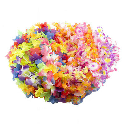 12PCS 33CM Hawaiian Tropical Leis Flower Garlands Dress Necklace Party Hen - Hawaiian Necklaces