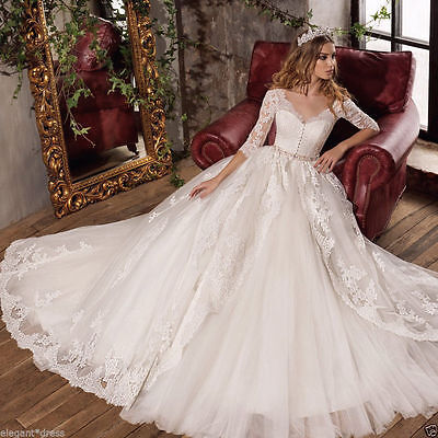 New White/Ivory Lace Wedding Dress Bridal Ball Gown Custom Size 4-6-8-10-14-16++