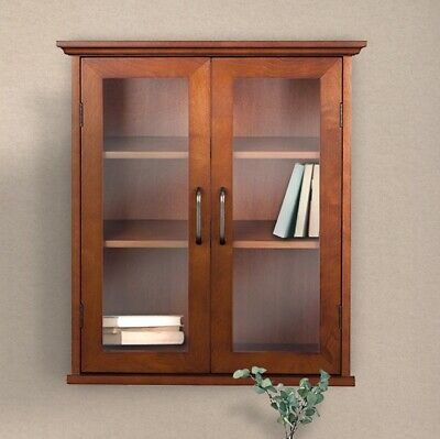Modern Double Glass Door Wall Storage Cabinet Kitchen Bathroom Organizer Brown