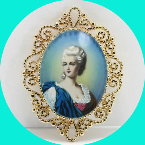 """Vintage hand painted portrait cameo pin brooch pendant 14K YG 12.9GM 1 13/16""""L"""