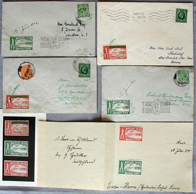 S1886) rocket mail rocket Post Western Isles 5 Documents 1934 OU Sugar Vignettes