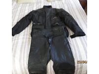 Adult Leather Motorcyclist Jacket & Trousers Black Large Size Great Condition
