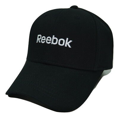 Reebok Branded Script Logo Black Cotton Adjustable Strap back Cap Hat