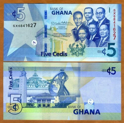 Ghana, 5 Cedis, 2019, P-New, UNC > Upgraded security features