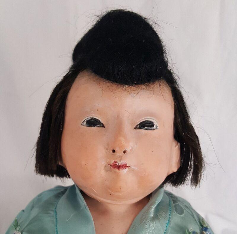 Antique late19th C. Japanese ICHIMATSU Papier- Mache Doll , Gofun, Glass eyes