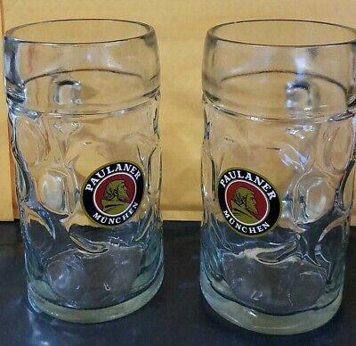 Paulaner Munchen 1 Litre Glass Beer Stein ~ PAIR (2)