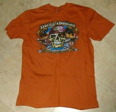Burnt Orange Harley Davidson Pirate Skull t-shirt Orlando FL Men's L Large