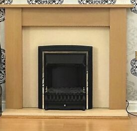 Adam Oak Fireplace in Oak and Cream with Electric Fire in Black