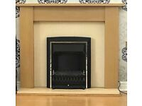 Adam Oak Fireplace in Oak and Cream with Electric Fire in Black