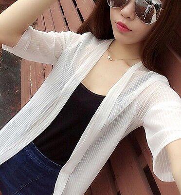 Lady Sheer Long Open Cardigan Chiffon Cape Half Sleeve Striped Blouse Thin Solid - Ladies Half Sleeve Sheer