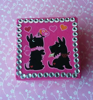 Handmade Scotty Dog & Hearts Pink Paper Mache Trinket Jewelry Gift Box Valentine