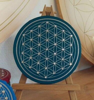 ild 15 cm Leinwand & Acryl handgemalt mit Glitzersteinen  (Gemalte Blume)
