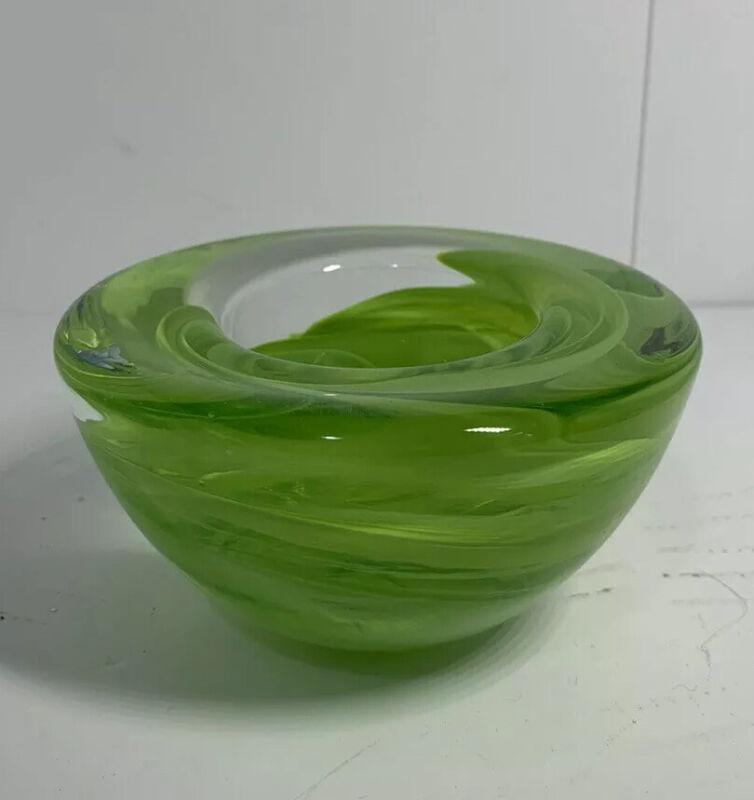 Kosta Boda Atoll Votive Bowl , Lime Green - Sweden 1742