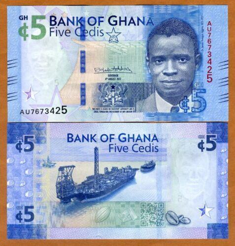Ghana, 5 Cedis, 2017 (2018), P-New, UNC > Regular issue, Lighter color