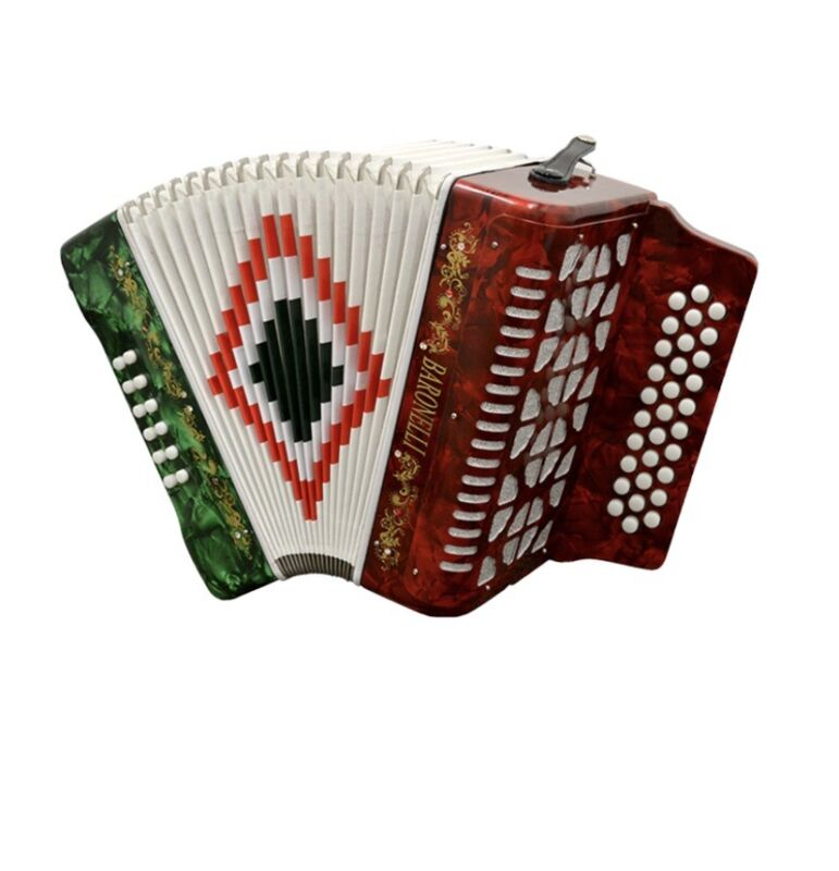 Baronelli Full Size 31 Button 12 Bass Accordion, GCF, st,case  Red/White/Green