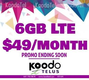 KOODO LTE 6GB $49/month and 6GB $51/mo 1/2/4/5/6/8/10 GB UNLIMITED CANADA MINS Plan - KoodoTel Ryan