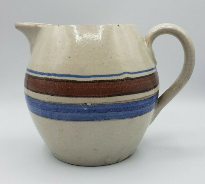 "Antique Striped Pottery Pitcher 6"" High Unmarked Great Farmhouse Decor"