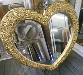 Large Gold heart mirror !!! New !!