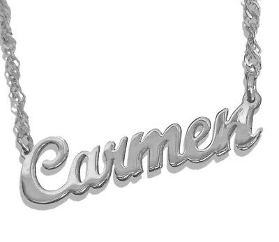 Sterling Silver Name Necklace - Personalized Any Name Necklace . Sterling Silver 925, Name Plate Necklace , USA