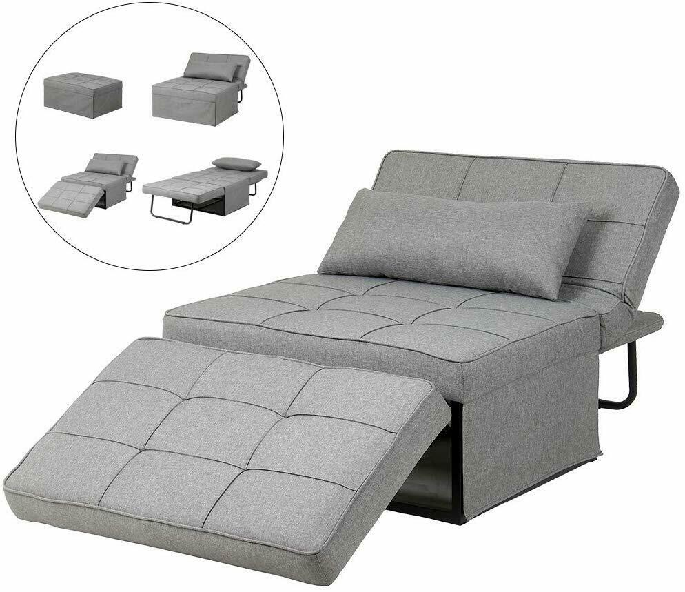 Adjustable Sofa Bed Folding Reclining Convertible Chair/Ottoman Arm Chair 4