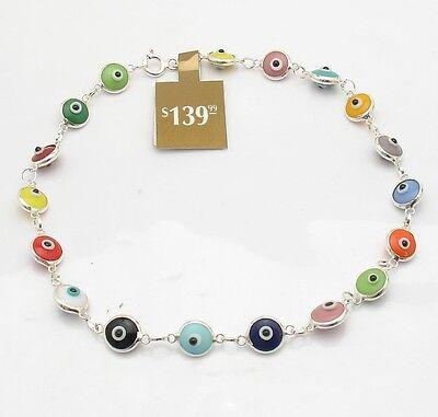 - Multi Color Baby Evil Eye Ankle Bracelet Anklet Real Solid 925 Sterling Silver