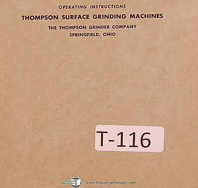 Thompson Type C Truform Surface Grinder Operations And Maintenance Manual 1950