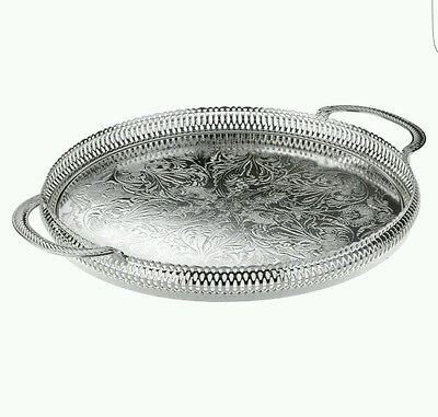 36cm Silver Plated Round Gallery Tray Serving Tray Tarnish Resistant Made In UK