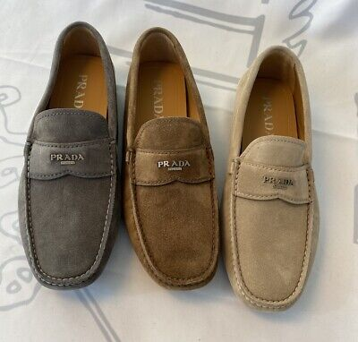 Prada 2DD165 Men's Suede Driver Shoes, New in Box, many colors, sizes
