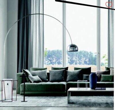 Arco Floor Lamp, Dome-shaped, spun aluminum shade white Carrara marble base Base Arco Floor Lamp
