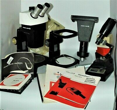 Bausch Lomb Stereo Zoom 7 Microscope Outfit 2 Baseslights Photos Look