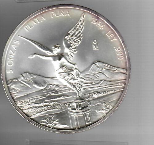 1996 Mexico 5 Onzas Plata Pura 5oz .999 Fine Silver Mexican Libertad