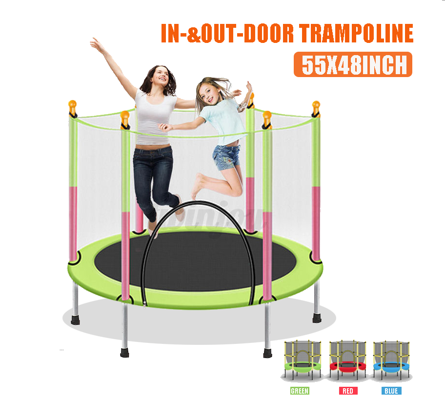 """55"""" Kids Mini Round Trampoline Exercise Jumping Safety Pad E"""
