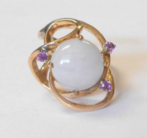 Modernist Unique Designer Lavender Jade Amethyst 14K Yellow Gold Ring Size 6.25