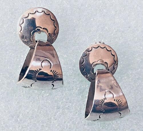 Vintage Sterling Silver SANEL Earrings  Stamped RT Southwestern Stamped Design