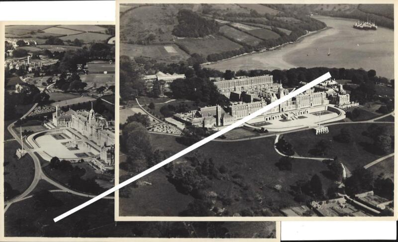 Lot Of 2 Aerial Photographs Of Royal Navy College, Devon County England 1944